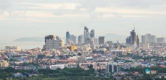 Vista di occhio dell'uccello di paesaggio urbano di Pattaya Immagini Stock