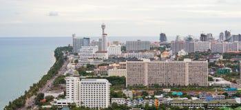 Vista di occhio dell'uccello di paesaggio urbano di Pattaya Immagine Stock