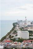 Vista di occhio dell'uccello di paesaggio urbano di Pattaya Immagine Stock Libera da Diritti