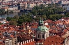 Vista di occhio dell'uccello di Praga Fotografie Stock