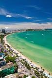 Vista di occhio della spiaggia di Pattaya e di uccello della città Fotografia Stock