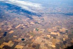 Vista di occhio di uccelli di agricoltura concentrare di irrigazione del perno Immagine Stock Libera da Diritti
