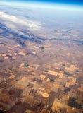 Vista di occhio di uccelli di agricoltura concentrare di irrigazione del perno Fotografia Stock Libera da Diritti