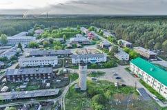 Vista di occhio di uccello dell'insediamento in Vinzili La Russia Fotografie Stock Libere da Diritti