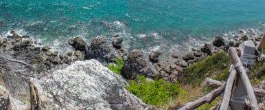 Vista di occhio di uccello in mare a rayong Immagini Stock Libere da Diritti