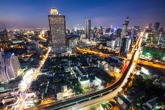 Vista di occhio di uccello notturno di Bangkok Fotografie Stock Libere da Diritti