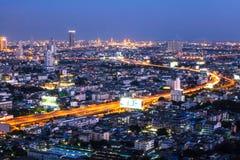 Vista di occhio di uccello notturno di Bangkok Fotografia Stock