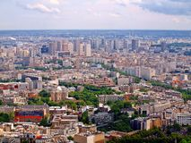Vista di occhio di uccello panoramica aerea della città di Parigi Fotografia Stock Libera da Diritti