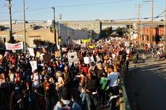 Vista di occupazione Oakland marzo, il 2 novembre, '11 Fotografie Stock Libere da Diritti