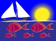 Vista di oceano al sole Immagini Stock