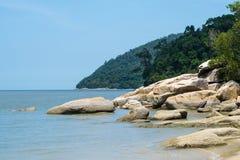 Vista di oceano calma dell'isola Fotografia Stock