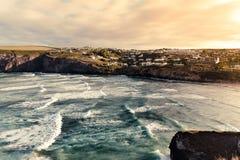 Vista di oceano della spiaggia di Mawgan Porth fotografia stock libera da diritti