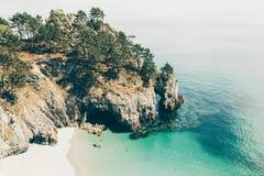 Vista di oceano Fondo della natura con nessuno Morgat, penisola di Crozon, Bretagna, Francia immagine stock libera da diritti