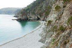 Vista di oceano Fondo della natura con nessuno Morgat, penisola di Crozon, Bretagna, Francia immagini stock