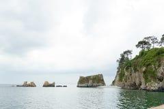 Vista di oceano Fondo della natura con nessuno Morgat, penisola di Crozon, Bretagna, Francia fotografie stock libere da diritti