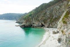 Vista di oceano Fondo della natura con nessuno Morgat, penisola di Crozon, Bretagna, Francia fotografia stock