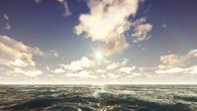 Vista di oceano il giorno soleggiato piacevole Vacanza del mare, natura, località di soggiorno Bella priorità bassa di estate illustrazione vettoriale