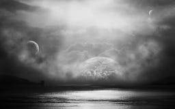 Vista di oceano nell'universo Fotografia Stock Libera da Diritti