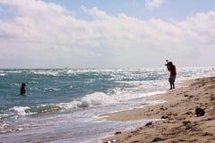 Vista di oceano parzialmente soleggiata dell'orizzonte del tiro di fotografia in Florida Fotografia Stock Libera da Diritti