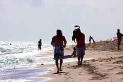 Vista di oceano parzialmente soleggiata dell'orizzonte del tiro di fotografia in Florida Immagini Stock Libere da Diritti