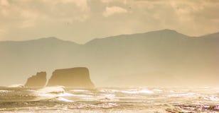 Vista di oceano Spiaggia di Halatyrsky kamchatka Immagine stilizzata Fotografie Stock Libere da Diritti