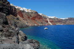 Vista di Oia dell'isola di Santorini Fotografie Stock