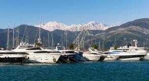 Vista di Oporto Montenegro Città di Teodo, Montenegro Immagini Stock Libere da Diritti