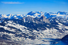 Vista di orario invernale dal Mt Rigi in Svizzera Fotografia Stock
