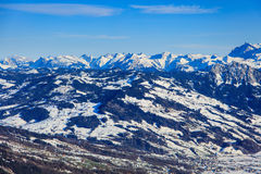 Vista di orario invernale dal Mt Rigi in Svizzera Fotografia Stock Libera da Diritti