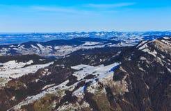 Vista di orario invernale dal Mt Rigi in Svizzera Fotografie Stock Libere da Diritti