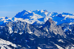 Vista di orario invernale dal Mt Rigi in Svizzera Fotografie Stock