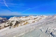 Vista di orario invernale dal Mt Titlis in Svizzera Fotografia Stock Libera da Diritti