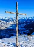 Vista di orario invernale dalla cima del Mt Rigi in Svizzera Immagini Stock Libere da Diritti