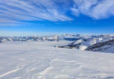 Vista di orario invernale dalla montagna di Fronalpstock in Svizzera Immagini Stock Libere da Diritti