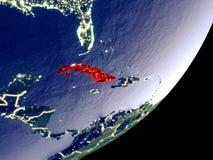 Vista di orbita di Cuba alla notte illustrazione vettoriale