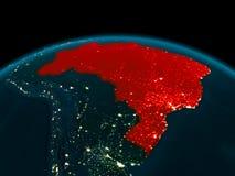 Vista di orbita del Brasile alla notte Immagine Stock Libera da Diritti