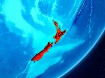 Vista di orbita della Nuova Zelanda nel rosso Immagini Stock