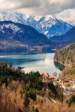 Vista di paesaggio con i coulds della pioggia e del lago La Baviera, Germania Immagine Stock Libera da Diritti
