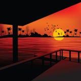 Vista di paesaggio dal boathouse Fotografie Stock