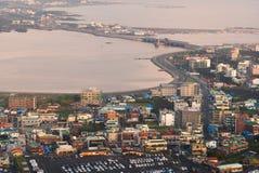 Vista di paesaggio urbano di alba dal picco di Seongsan Ilchulbong fotografie stock libere da diritti