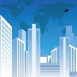 Vista di paesaggio urbano con le costruzioni, il programma di mondo ed il ai Immagini Stock Libere da Diritti