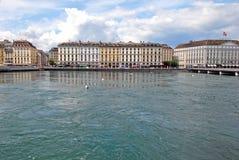 Vista di paesaggio urbano del lago Lemano, Svizzera fotografie stock