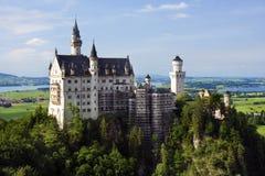 Vista di Panopramic del castello di Neuschwanstein Immagine Stock