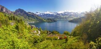 Vista di panorama al villaggio Vitznau, al lago Lucerna ed alle alpi svizzere vicino a Lucerna, Svizzera Fotografia Stock