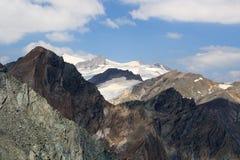Vista di panorama con la montagna Grossvenediger ed i ghiacciai, alpi di Hohe Tauern, Austria Fotografie Stock Libere da Diritti