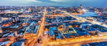 Vista di panorama da Ekaterinburg nella sera che costruisce Vysotsky Immagine Stock Libera da Diritti