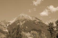 Vista di panorama del fondo dei picchi delle alpi Fotografia Stock