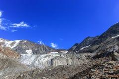 Vista di panorama del ghiacciaio della Tre-La-Tete in alpi francesi Fotografia Stock Libera da Diritti