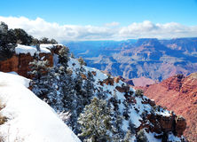 Vista di panorama del grande canyon in inverno con neve Immagini Stock Libere da Diritti