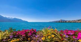 Vista di panorama del lago geneva e della città di Montreux Fotografia Stock Libera da Diritti